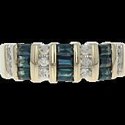 Sapphire & Diamond Ring - 14k Yellow Gold Size 7 Baguette Cut 1.01ctw