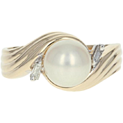 Cultured Pearl & Diamond Bypass Ring - 14k Yellow Gold 8.6mm Size 10