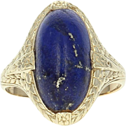 Vintage Lapis Lazuli Ring - 14k Yellow Gold Solitaire Size 5 1/2