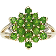 Chrome Diopside Cluster Ring - 10k Yellow Gold Diamond Accents 1.62ctw