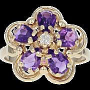 Amethyst & Diamond Flower Ring - 14k Yellow Gold Pear Brilliant 1.71ctw