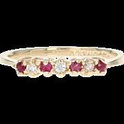 Ruby & Diamond Ring - 14k Yellow Gold Round Brilliant .14ctw