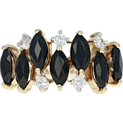 Black Glass & Cubic Zirconia Ring - 10k Yellow Gold Women's Size 6 1/4