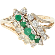 Tiered Emerald & Diamond Bypass Ring - 14k Gold Round Brilliant 1.13ctw