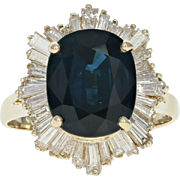 Sapphire & Diamond Halo Ring - 14k Yellow Gold Size 9 3/4 Baguette 8.56ctw