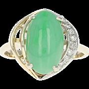 Jadeite Jade & Diamond Ring - 14k Yellow Gold Cabochon 4.05ctw