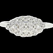 Vintage Diamond Ring Star Halo 14k White Gold Women's