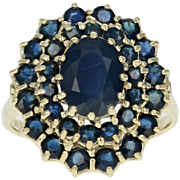 Sapphire Halo Ring - 14k Yellow Gold Size 8 Oval Brilliant 3.70ctw