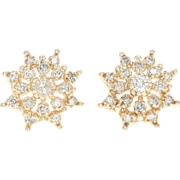 Diamond Snowflake Earrings - 14k Gold Tiered Cluster Pierced Round .44ctw