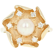 Cultured Pearl & Diamond Flower Ring - 14k Yellow Gold Round Brilliant .16ctw