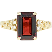 Garnet & Diamond Ring - 18k Yellow Gold Size 5 1/2 Open Cut 3.02ctw
