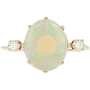 Opal & Diamond Ring - 14k Yellow Gold Oval Cabochon 2.01ctw