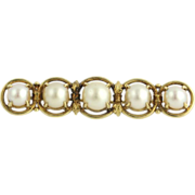 Genuine Akoya Pearl Brooch - 14k Yellow Gold Journey Design Vintage Pin