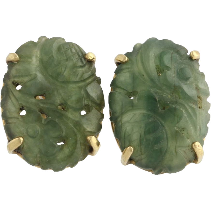 Jadeite Carved Floral Design Earrings - 14k Yellow Gold Gemstones Green Vintage