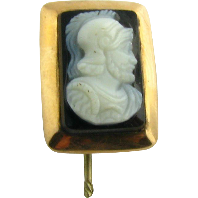 Vintage Carved Agate Male Soldier Cameo Stickpin - 10k Rose Gold Stick Pin Case