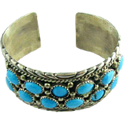 Authentic Vintage Navajo Ruth Ann Begay Turquoise Bangle Bracelet Silver