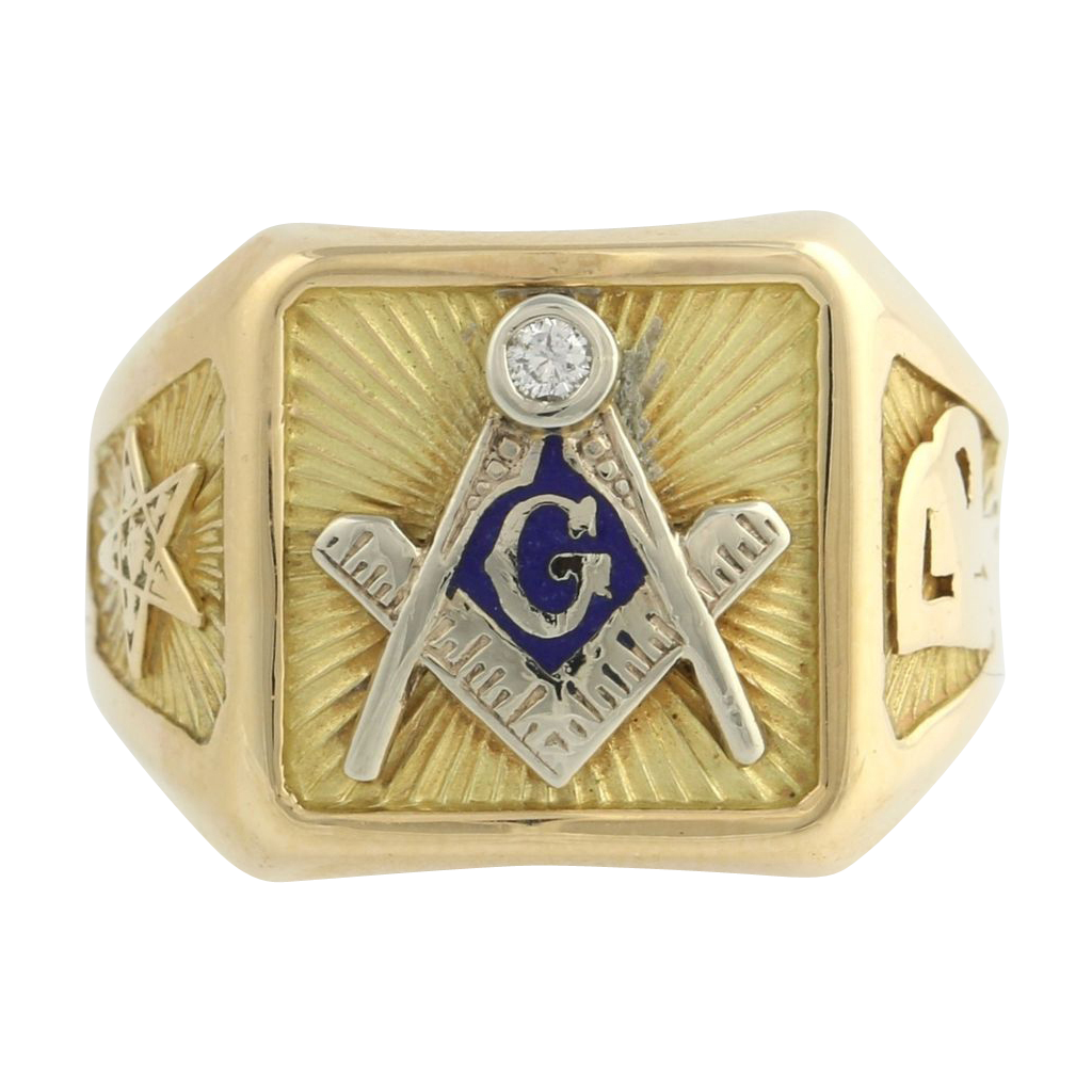 Master Mason Past Patron Order Eastern Star Diamond Ring Masonic- 14k Solid Gold