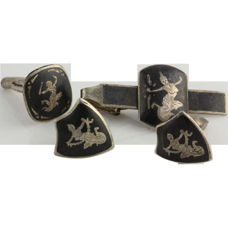 Siam Silver Cuff Links Tie Clip - Sterling Vintage Asian Thai goddess Mekkala