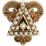1911 Vintage Delta Upsilon Fraternity Pin - Genuine 14k Yellow Gold Pearl Badge