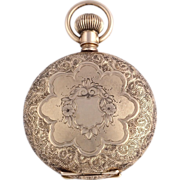 Vintage Floral Engraved Elgin Pocketwatch Locket Pendant - 14k Gold 58.2g Watch