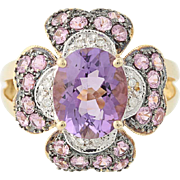 Amethyst, Pink Sapphire, & Diamond Ring - 14k Yellow Gold Floral 4.28ctw