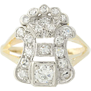 Art Deco Diamond Ring - 14k Gold & Platinum Vintage Round Brilliant .56ctw