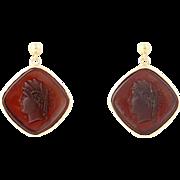 Silhouette Drop Earrings - 14k Gold Brown Glass w/ Molded Ancient Figure Pierced