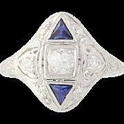 Art Deco Diamond & Synthetic Sapphire Ring -Platinum Vintage European Cut .45ctw