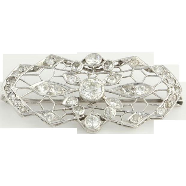 Gorgeous .66ctw Genuine Diamond Vintage Brooch Pin - Platinum Open Cut Womens A+