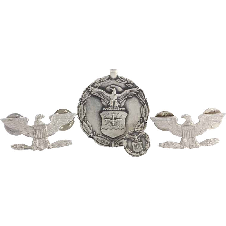 Air Force Badge 4 Piece Set - Solid Sterling Silver American Eagle Vintage