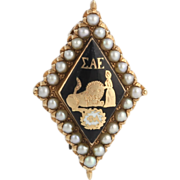 Sigma Alpha Epsilon Fraternity Pin - 14k Yellow Gold Genuine Pearls Vintage