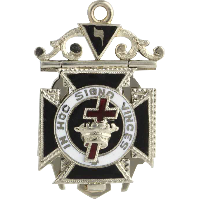 Vintage Masonic Fob Tri-Fold - 18k Solid White Gold Scottish York Rite Masons