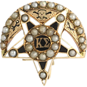 Vintage 1911 Kappa Sigma Badge Pin - 14k Yellow Gold Seed Pearls Fraternity Pin