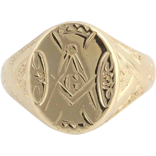 Antique Masonic Ring - Master Mason 14k Gold Hand Engraved Solid Back c.1870-80 Band