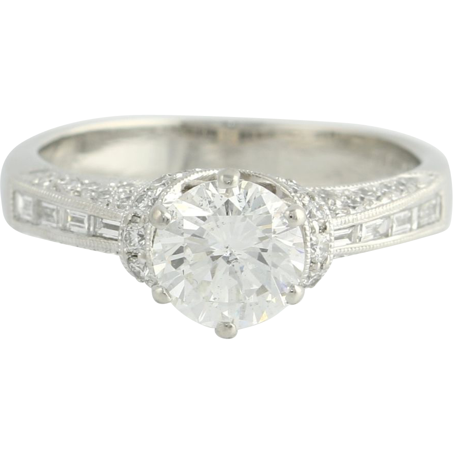 1.19ct GIA Diamond Engagement Ring - 950 Platinum .54ctw Diamond Accents