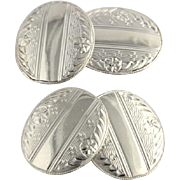 Art Deco Cufflinks - 10k White Gold Polished Fine Estate 1920's - 30's Vintage