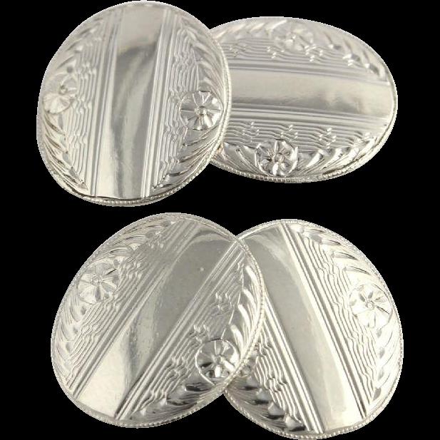 Art Deco Cufflinks - 10k White Gold Polished Fine Estate 1920's - 30's Vintage