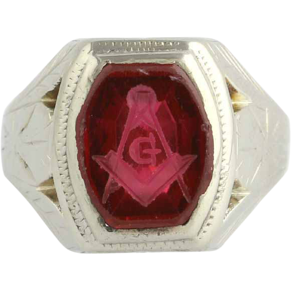 Master Mason Vintage Masonic Ring - 14k White Gold Syn Red Spinel Blue Lodge