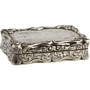 Antique Silver Snuff Box - c.1855 Vintage Polished Birmingham Scroll Work Case