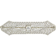 Vintage Brooch - 14k White Gold Filigree Designs Glass Stone Elegant Milgrain