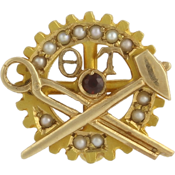 Theta Tau Pin - Engineering Fraternity Vintage 10k Yellow Gold Garnet & Pearls