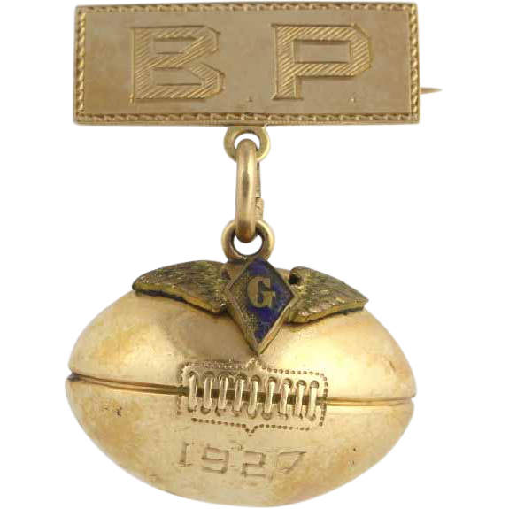 Vintage Strubing Trophy Football Badge Pin - 10k & 14k Yellow Gold 1927 3D