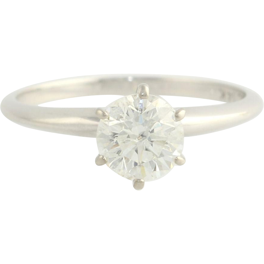 1.07ct Genuine Round Diamond EGL Certified Engagement Ring - 14k White Gold