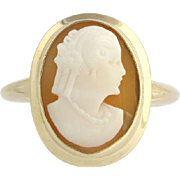 Vintage Carved Shell Cameo Cocktail Ring - 10k Yellow Gold Polished Womens