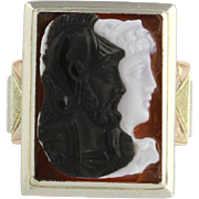 Victorian Carved Sardonyx Cameo Ring Handwrought 10k Gold Ulysses Athena Odyssey