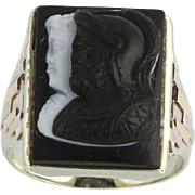 Art Deco Men's Cameo Fashion Ring - 14k Tri Toned Gold Carved Banded Agate