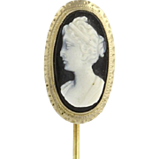 Edwardian Carved Cameo Stickpin - 14k Yellow Gold Banded Agate Sardonyx Estate