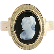 Victorian Cameo Ring - 12k Yellow Gold Halo Silhouette Estate Carved Agate Fine