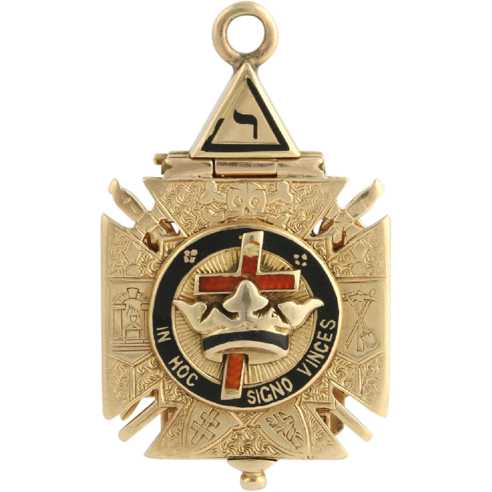 Knights Templar Scottish Rite Fob Pendant - 14k Yellow Gold Masonic Antique 1907