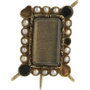 Victorian Mourning Brooch - 14k Yellow Gold Genuine Onyx & Pearls As Is Vintage